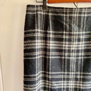 Talbots Wool Skirt Marled Grey Plaid Midi Length